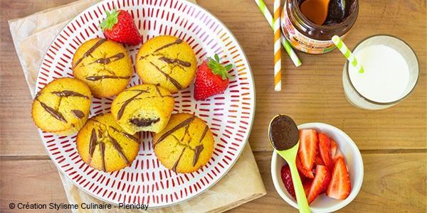 Muffins coeur pâte à tartiner